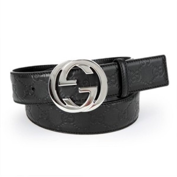 92efff3ed2 Gucci Black Leather GG print Belt